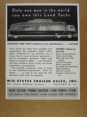1948 Mid-States Trailer EXECUTIVE LAND YACHT Motor Home RV vintage print Ad