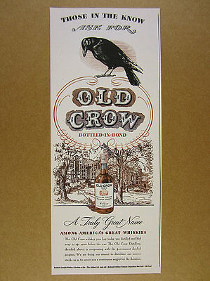 1945 Old Crow Bourbon black bird distillery illustration art vintage print Ad