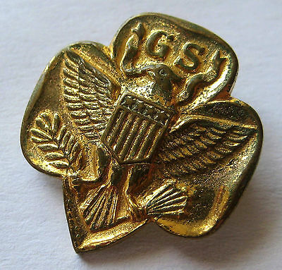 "Vintage 1935-40 GIRL SCOUT MEMBERSHIP PIN 6-Arrow Type 4 ""S"" Hallmark Eagle Gold"