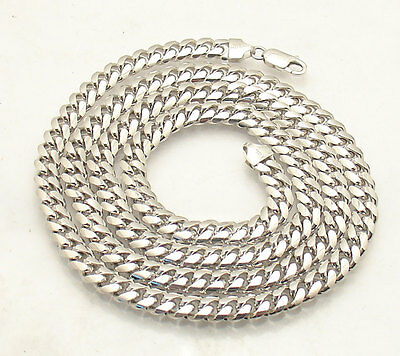 Men's 7mm Tight Miami Cuban Curb Chain Necklace Real Solid 925 Sterling Silver