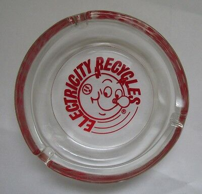 Vintage  REDDY KILOWATT CLEAR GLASS ASHTRAY  Advertising Electricity Recycles