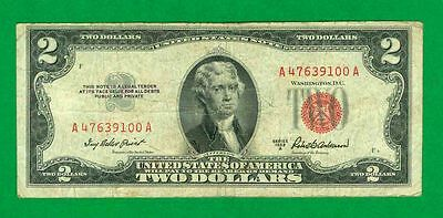 $2 1953-A 1 A/a Block Red Seal United States Note Circ.