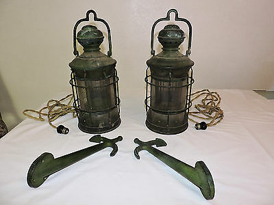 2 Vintage PERKINS MARINE Anchor or Masthead Lanterns - Converted, With Hangers