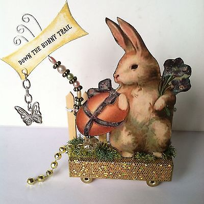 Altered art mixed media fairy block EASTER Bunny vtg OOAK  original collage
