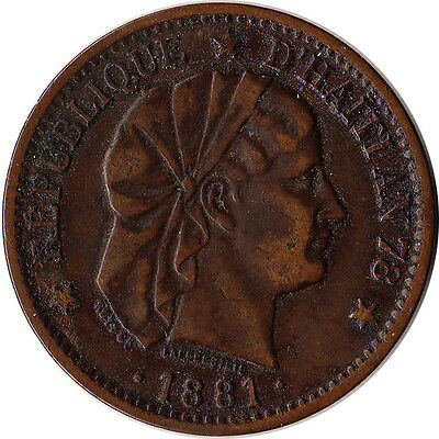 1881 Haiti 2 Centimes Coin KM#43 Mintage 830,000 One Year Type