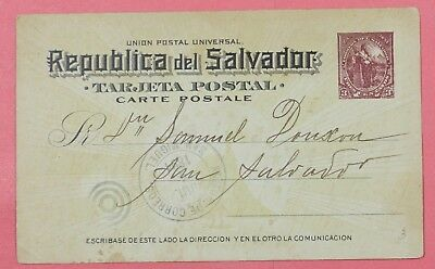 1894 El Salvador Postal Card Stationery San Miguel Local Use To San Slalvador