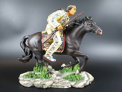 Winnetou Apache,Iltschi Horse, 25 cm Figure,Veronese Collection,Karl May License
