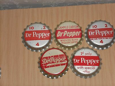 5 Different Promo Unused Cork Lined Dr Pepper Bottle Caps