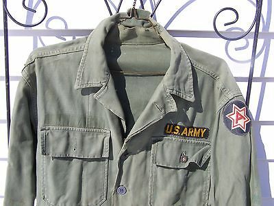 Vietnam War US Army Shirt w/ New Sixth Army Patch Military Green Uniform