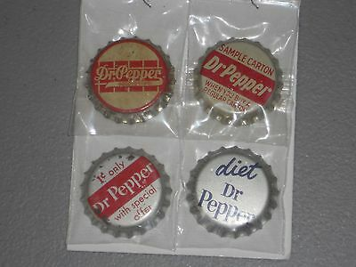 Four  Different Unused Cork Lined Dr Pepper Soda Bottle Crown Caps