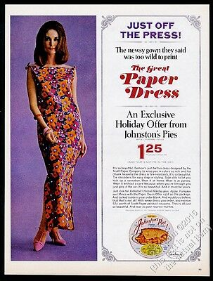 1966 Scott Paper dress and woman photo Johnston's Pies vintage print ad