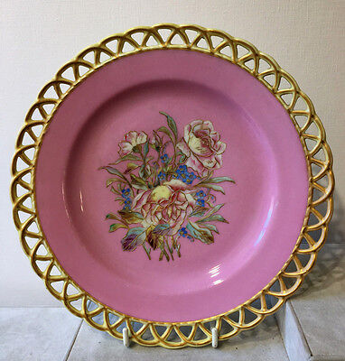 Antique Hand Painted Plate with Reticulated Border Artist Signed