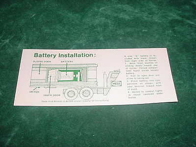 Father's Day Replacement Part 1975-1976 Hess Battery Card Toy Truck  Collectible