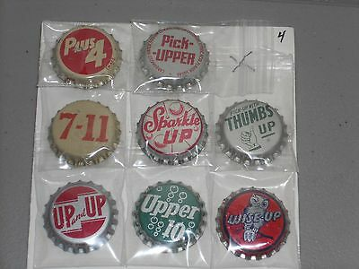 "8 Different ""up"" 7Up Imitators Unused Cork Lined Soda Bottle Crown Caps"