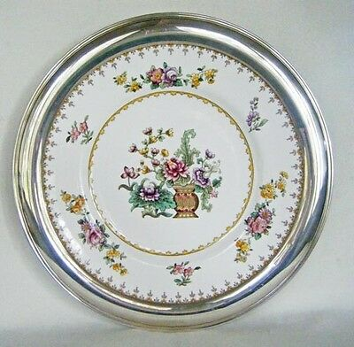 Large Cake Plate Spode Peplow With Sterling Silver Rim