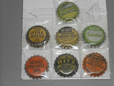 Seven Unused Cork Lined Pineapple Soda Bottle Crown Caps