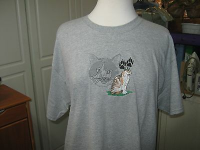 New Calico Cat Scene Embroidered T-Shirt Add Name For Free