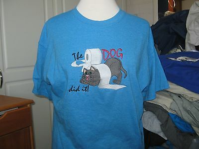 New  The Dog Did It Cat Embroidered T-Shirt Purrfect Gift