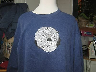 New Old English Sheepdog Head Embroidered Sweatshirt Add Name For Free
