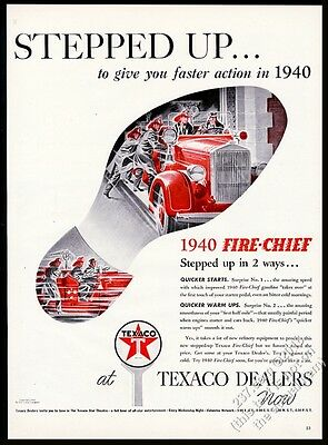 1940 Texaco oil gas fire engine truck firemen art vintage print ad