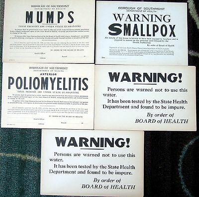 "5 1923 SOUTHMONT pa SMALLPOX, MUMPS,  7"" X10"" Quarantine Notice Vintage Sign lot"