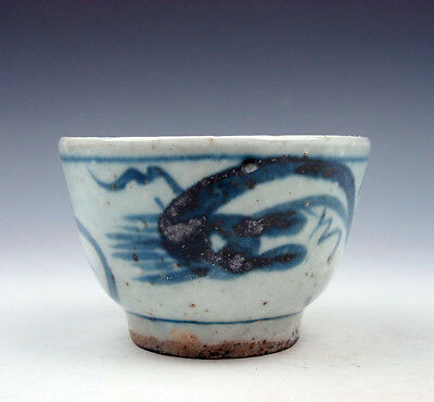 Antique Blue&White Porcelain Dragon Patterns Hand Painted Cup #06101609