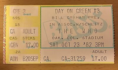 1982 The Clash Day On The Green Oakland The Who Concert Ticket Stub Joe Strummer