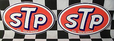 "Rare Lot Of 2 Vintage Brand New Stp Oil 7"" X 4.5"" 1980's Nascar Decals Stickers"