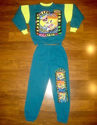 NEW Vtg 80s SURF Beach NEON Sweatshirt track SWEAT SUIT Sweatpants YOUTH MEDIUM