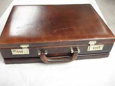 LaFont Vintage Leather Briefcase Made in Spain Expandable Pockets Inside As Is