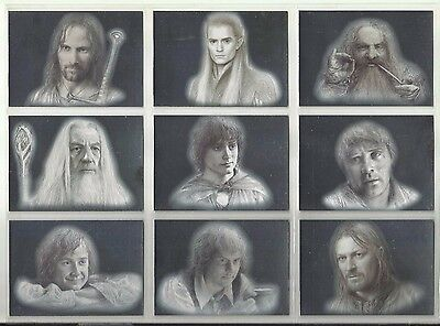 """2006 Lord of the Rings: Masterpieces 1 FOIL ART """"Complete Set"""" of 9 Cards (1-9)"""