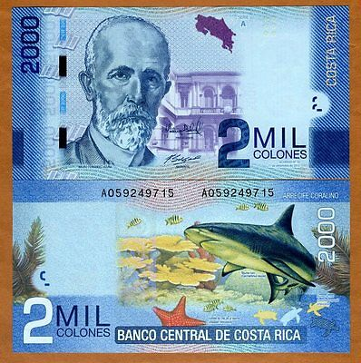 Costa Rica, 2000 ( 2,000 ) Colones, 2013 (2016), P-275b, UNC > New Date and Sign