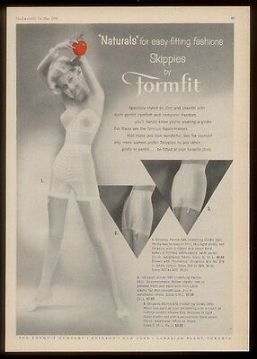 1958 pretty woman photo Formfit Skippies panty girdle vintage print ad