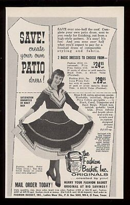 1961 Fashion Basket cowgirl dress photo vintage fashion print ad