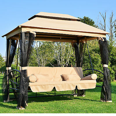 Garden Swing Seat Bench Bed Gazebo Mesh Shelter Canopy Hammock 3-4 Seater Patio
