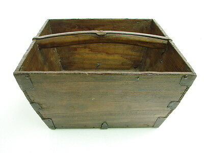 Antique Vintage Wooden Asian Chinese Rice Bucket Basket Measurement Dovetailed