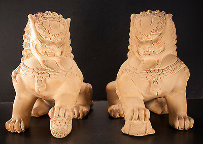 Foo Dog Statues Asian Chinese Clay Plaster Orange