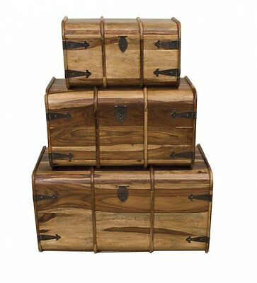 Jali Solid Sheesham Indian Rosewood Set of 3 Trunk Boxes Fully Assembled Chests