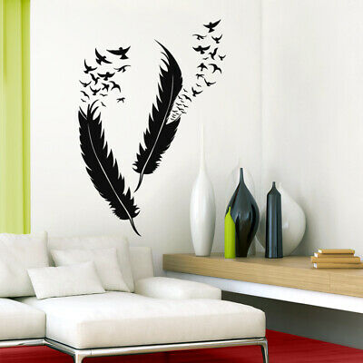 wandtattoo wandsticker wandaufkleber federn v gel. Black Bedroom Furniture Sets. Home Design Ideas