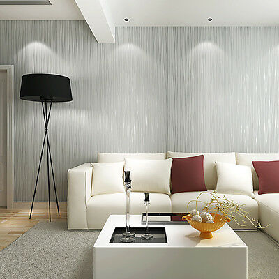 10M Silver Grey Vertical Stripes Wallpaper Textured Embossed Wall For Room Decor