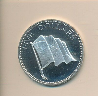 Bahamas $5.00 Flag Proof - Silver 1975