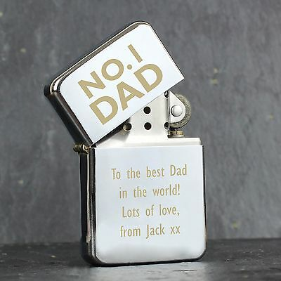 Personalised Engraved Silver Lighter: No.1 Dad- Ideal for Birthdays Fathers day