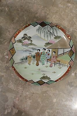 """Antique Japanese Hand Painted Porcelain Plate """"Marked"""""""