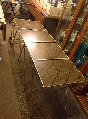 VINTAGE MID CENTURY SET OF 4 TV LAP TRAYS W/ Portable Carrying Cart