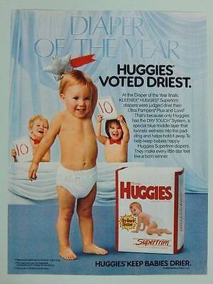 1988 Huggies Supertrim Diapers - Vintage Magazine Ad Page - Cute Baby - Babies