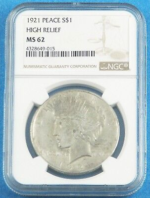 1921-S Authentic Coin - US Peace Silver Dollar NGC MS62 High Relief