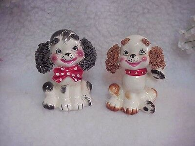 Lefton Very Cute Vintage Cocker Spaniel S&P Set~~#587 On Bottom~W/Stoppers