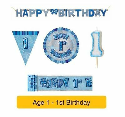 AGE 1 - Happy 1st Birthday BLUE GLITZ - Party Balloons, Banners & Decorations 2