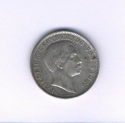 Germany  Baden  1860  1/2 Gulden  Silver Coin, Almost Uncirculated