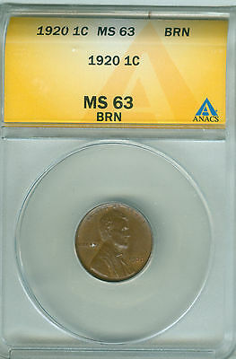 1920 Lincoln Cent Anacs Ms 63 (1721176)